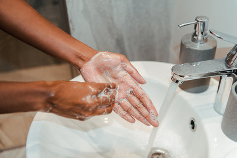 hand washing with a gentle soap to prevent dry hands