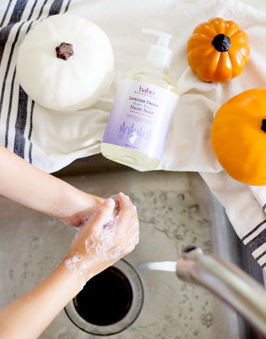 Hand washing with gentle soap to help with eczema flare-up