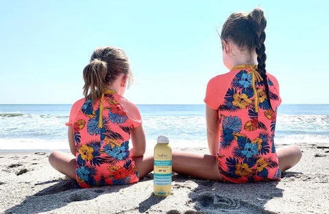 two girls sitting at the beach