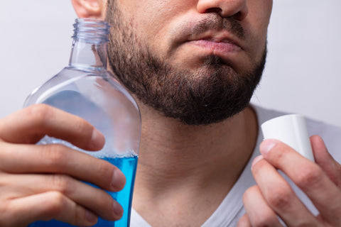 man getting eucalyptus benefits from mouthwash