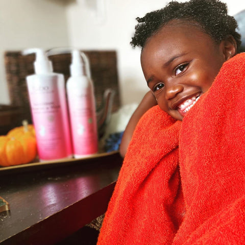 Young girl who just washed her hair