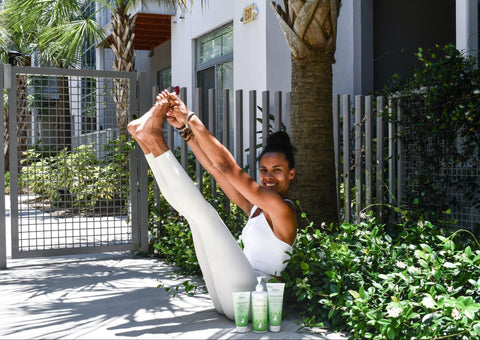 Woman doing yoga by Babo Botanical Hair Products