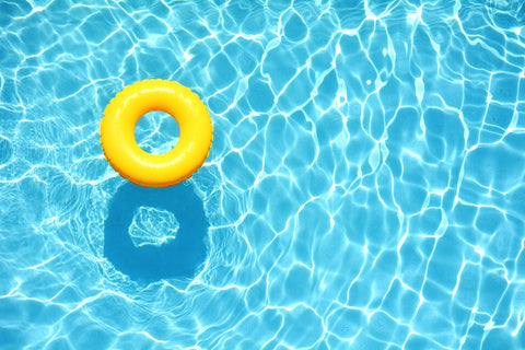 Pool with yellow floating inner tube