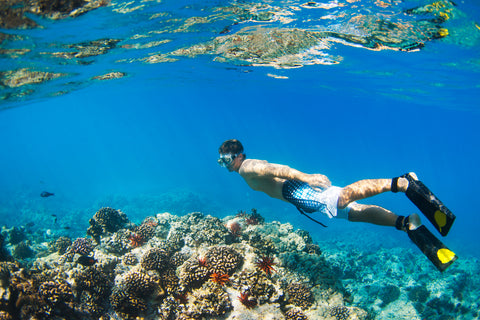 guy snorkeling wearing coral reef safe sunscreen