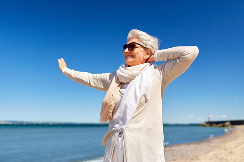 Woman outside protected by natural sunscreen