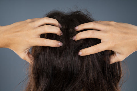 Woman massaging her scalp showing how to moisturize your scalp
