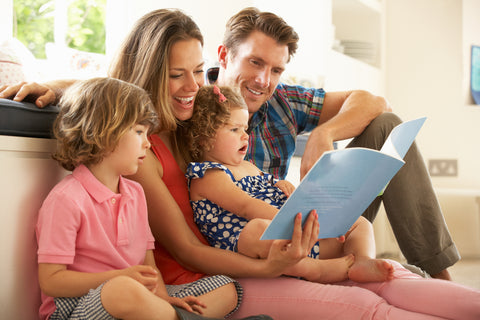 family spending time together before working from home with kids