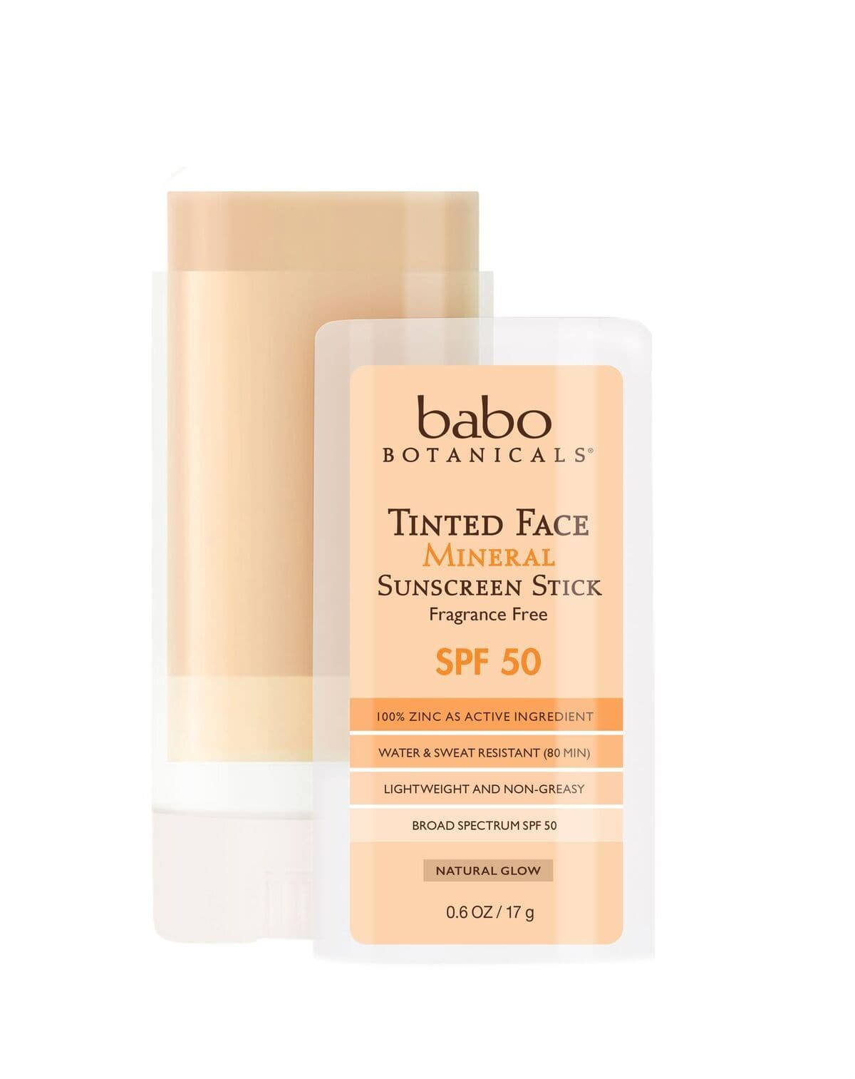 Tinted Face Natural Glow Mineral Stick - SPF 50, Fragrance Free, .6 OZ - Bundle (2 Pack)