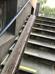 rail designed to roll bicycles up and down stairs in Copenhagen Denmark