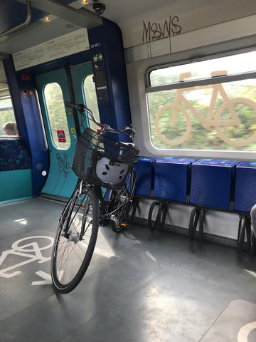 bicycle on a train car dedicated to bicycles in Copenhagen Denmark
