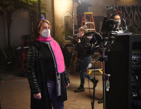 "Masks on! Rosemary Rodriguez wears a Vespertine NYC Reflective MOhair Scarf </span>on set directing the Apple show ""Truth Be Told,"" starring Octavia Spencer and Kate Hudson. Photos by Mitchell Haddad"