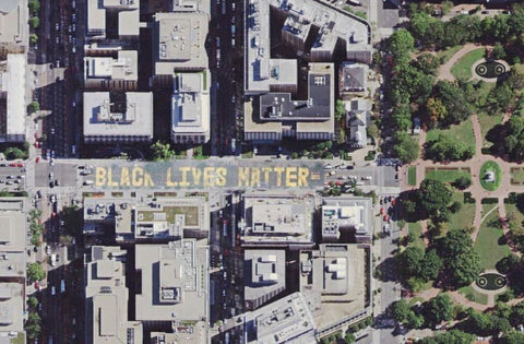 Black Lives Matter aerial view of D.C. plaza from Google maps