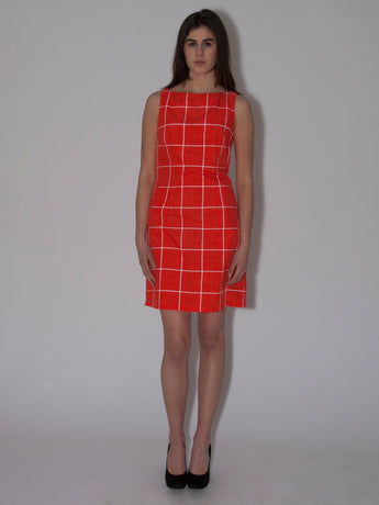 reflective red sleeveless shift dress