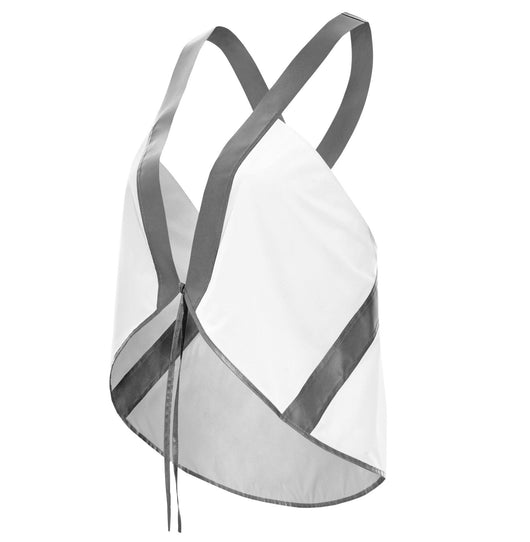 a neon white reflective high visibility stylish safety vest for women made from 100% recycled material and 3M Scotchlite™ designed to be seen when you bike, walk, run, play