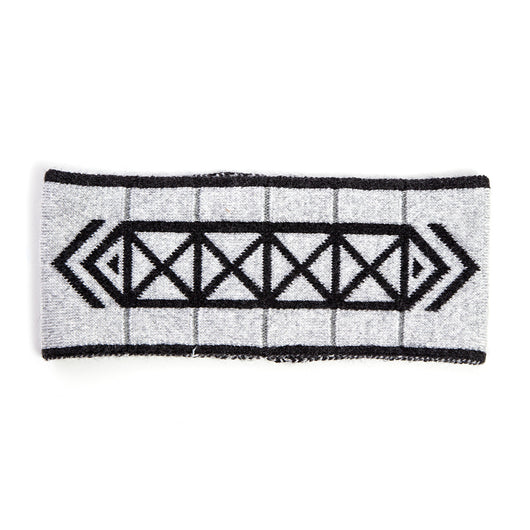Brompton x Vespertine stylish unisex grey 100% merino wool reflective headband winter with 3M Scotchlite Reflective Stripes for unisex men women Made in NY bike, ski, run, walk, fits under helmet