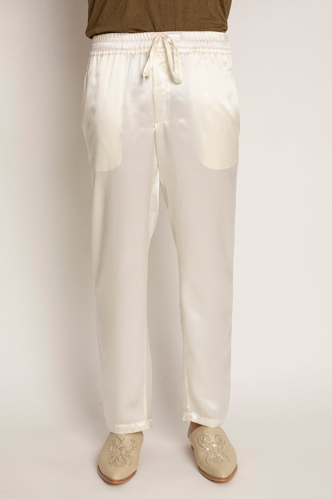 Risas: Silk Elastic Waistband Straight Cut Pants