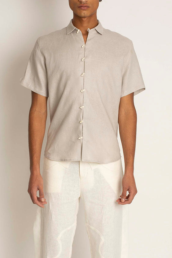 Chela: Linen Short Sleeve Button Down Shirt