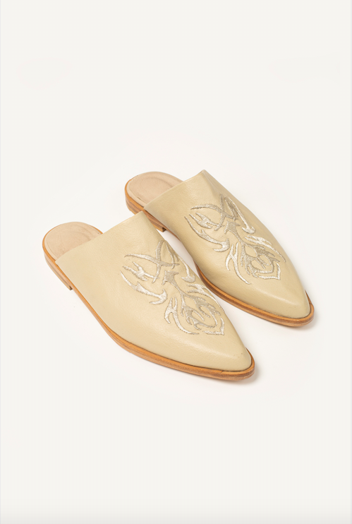 PREORDER: Embroidered Leather Charro Mules