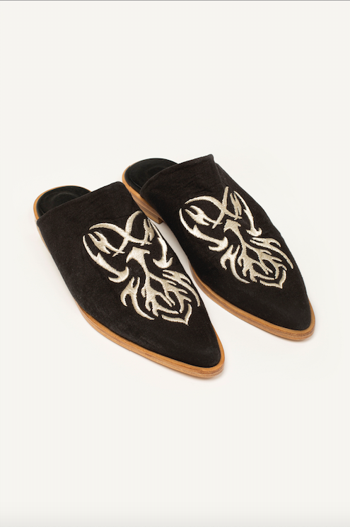 PREORDER: Embroidered Linen Charro Mules