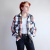 Vintage 70s Plaid Workwear Shirt in White - L