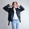 Vintage 70s Oversized Black Leather Motorcycle Jacket