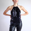 Vintage Y2k Square Sequined Halter Top - Sz 8