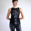 Vintage Sequined Loose Knit Tank Top in Black