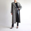 90s Glen Plaid Structured Wool Overcoat - M