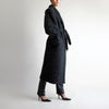 Vintage Belted Tweed Maxi Coat in Charcoal - L