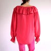 Vintage 90s Oversized 100% Silk Poet Blouse in Cranberry - S