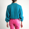 Vintage 90s Cropped Mohair Sweater in Turquoise - M
