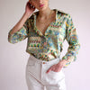 Vintage 60s Neon Abstract Pattern Oxford - M/L