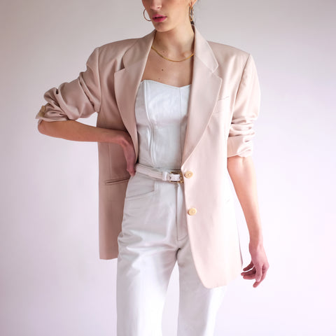 Vintage 90s Minimal Worsted Wool All Seasons Blazer in Nude