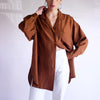 Vintage Oversized 100% Silk Blouse in Hazelnut