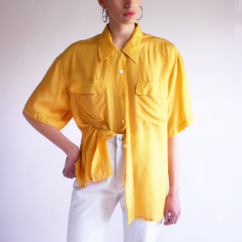 Vintage Oversized 100% Silk Blouse in Merigold