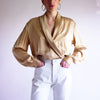 Vintage 100% Silk Charmeuse Wrap Blouse in Gold