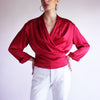 Vintage 100% Silk Charmeuse Wrap Blouse in Pomegranate