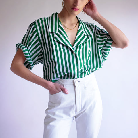 Vintage Oversized Minimal Striped Oxford in Kelly Green