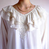 Vintage 90s Oversized Ruffled Poet Blouse in Ivory