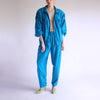 Vintage 100% Silk High Waisted Tracksuit in Turquoise - M