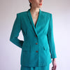 Vintage 90s High Waist 100% Silk Skirt Suit in Turquoise - SZ 8