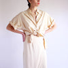 Vintage 90s Minimal 100% Silk 2PC Co-Ord Set in Cream - M