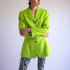 Vintage 90s Power Blazer in Neon Green - SZ 8
