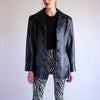 Vintage Y2k Button Up Leather Jacket in Black - S