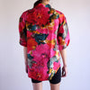Vintage 90s Watercolor Print 100% Silk Oxford - S/M