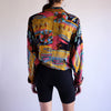 Vintage 90s Abstract Print Tie Front Crop Top