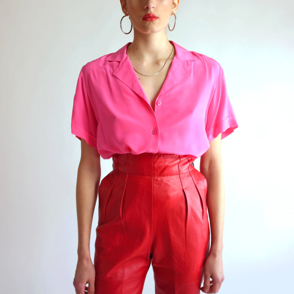 Vintage 100% Silk Blouse in Peony