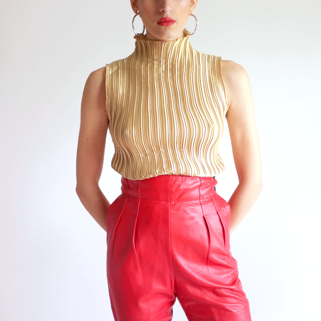 Vintage Micro-Pleated Mock Neck Top in Gold