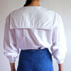 Vintage Cotton Puff Sleeve Pilgrim Collar Blouse in White