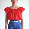 Vintage 70s Ruffle Collar Cotton Top